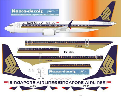 1/144 Scale Decal Singapore Airlines 737-8 MAX