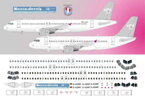 1/144 Scale Decal Sund Air A-319 / A-320