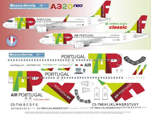 1/144 Scale Decal TAP Air Portugal A-320 Classic & NEO