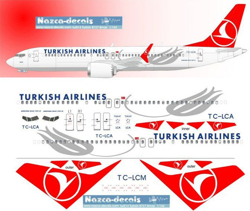 1/144 Scale Decal Turkish Airlines 737-8 MAX