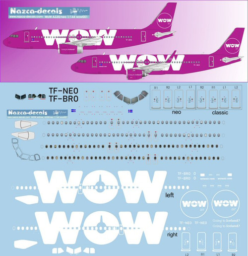 1/144 Scale Decal WOW A-320 Purple Plane