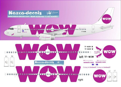 1/144 Scale Decal WOW A-320 White Plane