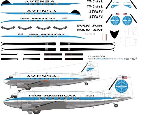 1/48 Scale Decal Pan Am / Avensa DC-3