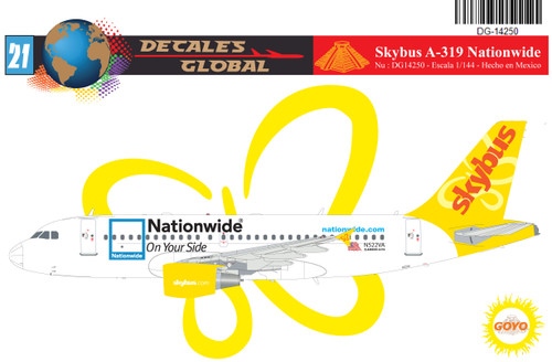 1/144 Scale Decal Skybus A-319 Nationwide