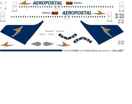 1/500 Scale Decal Aeropostal A-320