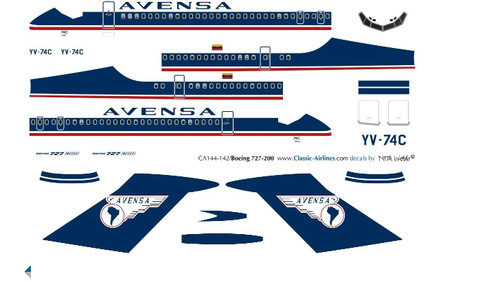 1/500 Scale Decal Avensa 727-200 Delivery