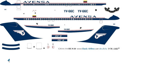 1/500 Scale Decal Avensa DC9-30 Delivery