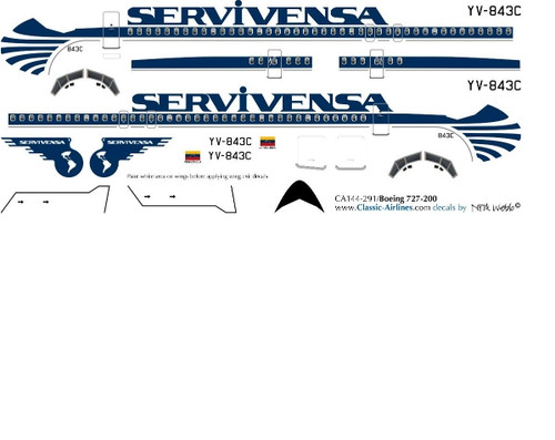 1/500 Scale Decal Servivensa 727-200