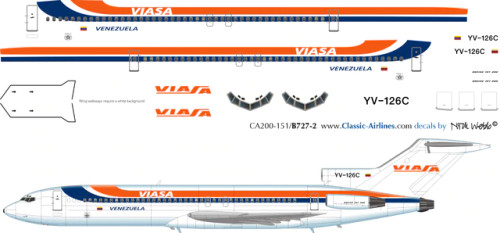 1/500 Scale Decal Viasa 727-200