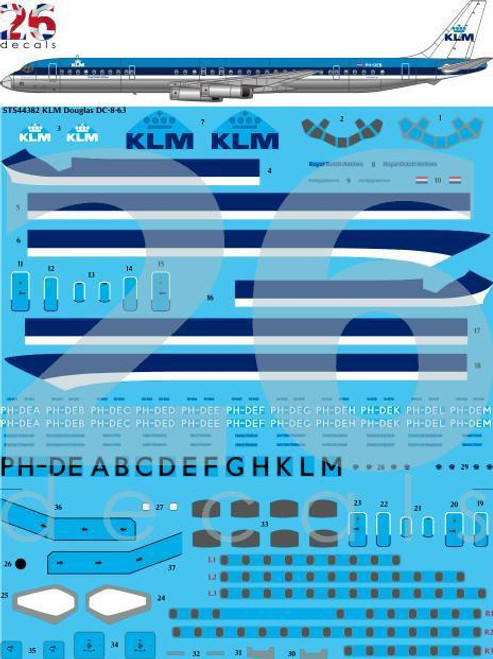1/144 Scale Decal KLM DC8-63
