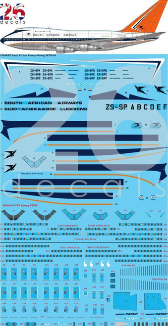 1/144 Scale Decal South African Airways 747-SP