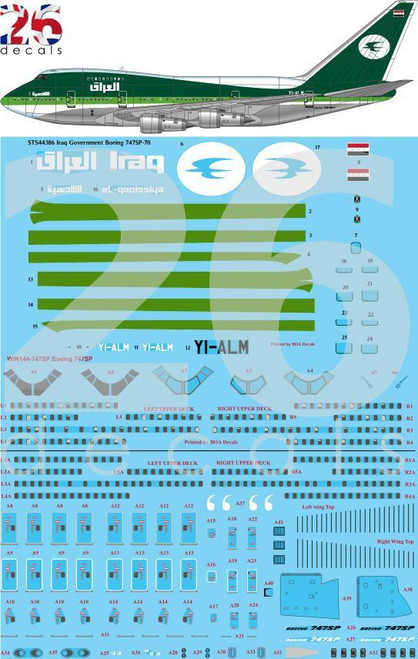 1/144 Scale Decal Iraq Government 747-SP