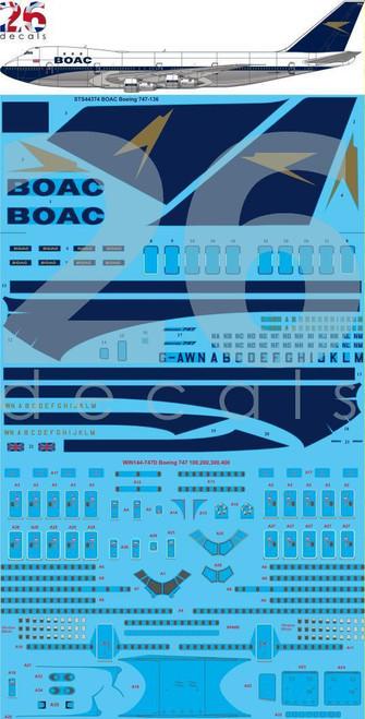 1/144 Scale Decal BOAC 747-100