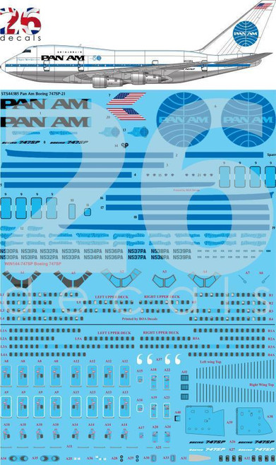 1/144 Scale Decal Pan Am 747-SP Delivery