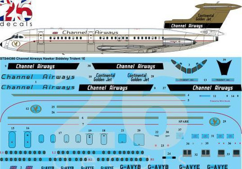 1/144 Scale Decal Channel Airways Trident 1E