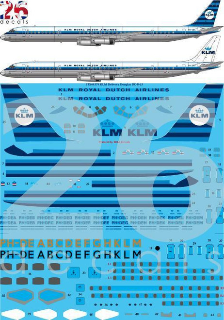 1/144 Scale Decal KLM DC8-63 Delivery