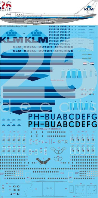 1/144 Scale Decal KLM 747-200 Delivery