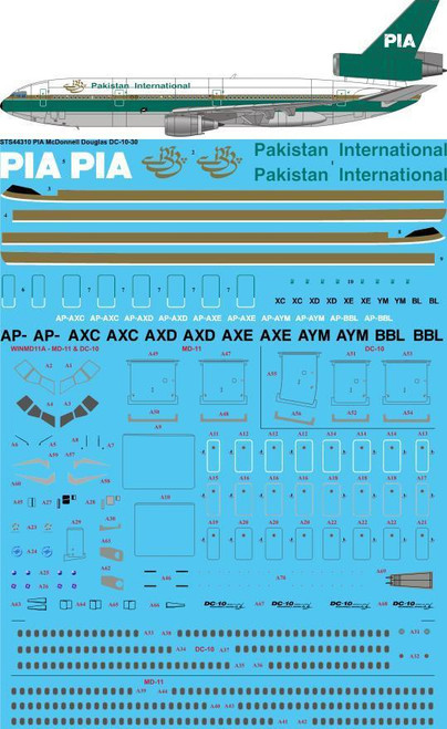 1/144 Scale Decal PIA - Pakistan International DC10-30