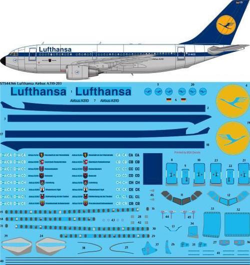 1/144 Scale Decal Lufthansa A-310