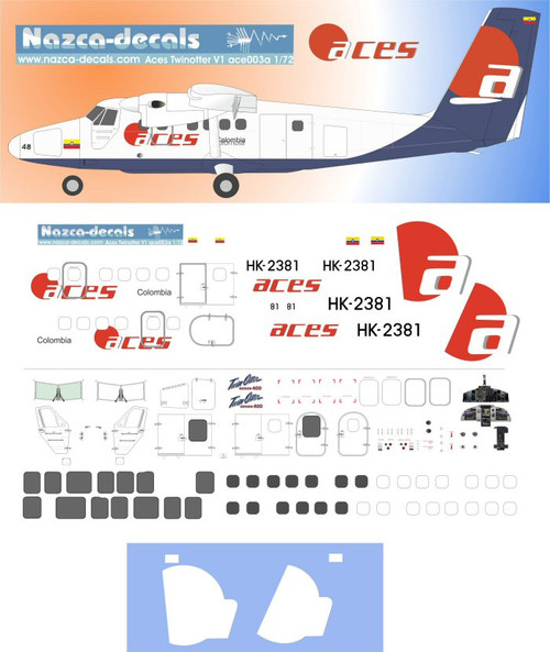1/72 Scale Decal Aces Colombia Twin Otter