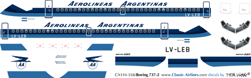 1/144 Scale Decal Aerolineas Argentinas 737-200 Exp