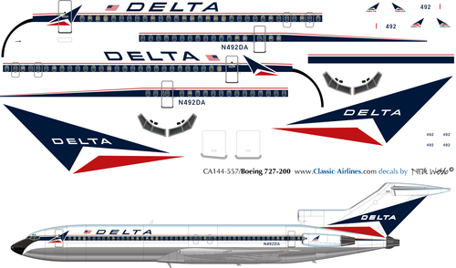 1/144 Scale Decal Delta Airlines 727-200