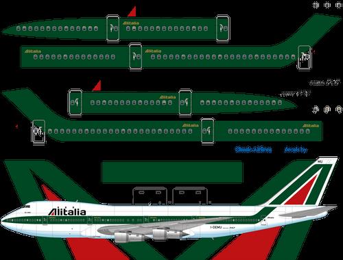 1/144 Scale Decal Alitalia 747-200