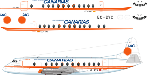 1/144 Scale Decal Canarias Viscount 800