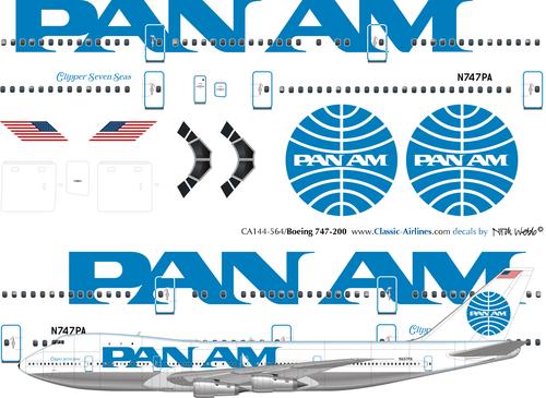 1/144 Scale Decal Pan Am 747-200 BILLBOARD