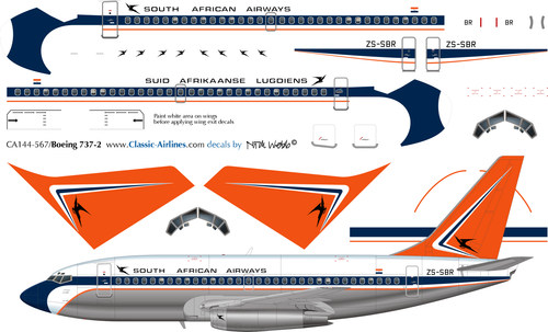 1/144 Scale Decal SAA - South African Airways 737-200
