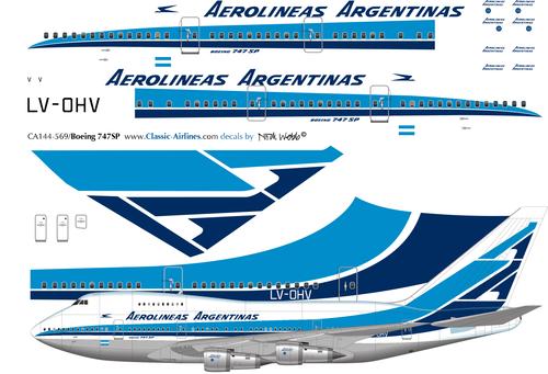 1/144 Scale Decal Aerolineas Argentinas 747-SP