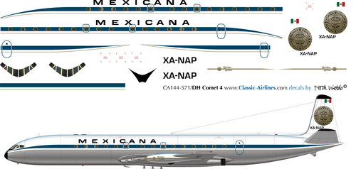 1/144 Scale Decal Mexicana Comet 4