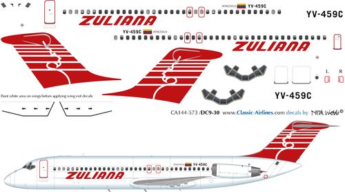 1/144 Scale Decal Zuliana DC9-30