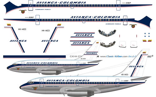 1/144 Scale Decal Avianca 737-100