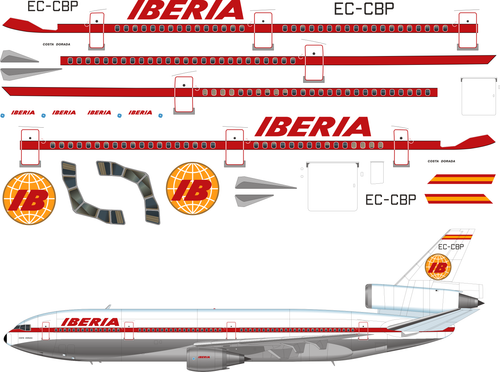 1/144 Scale Decal Iberia DC10-30 Delivery