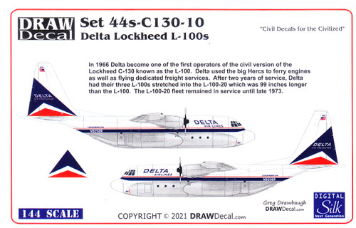 1/144 Scale Decal Delta Airlines L-100