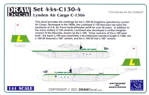 1/144 Scale Decal Lyden Air Cargo C-130