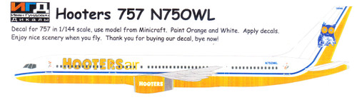 1/144 Scale Decal Hooters Air 757-200