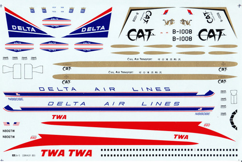 1/144 Scale Decal Delta / TWA / CAT Convair 880  * See clear coating instructions