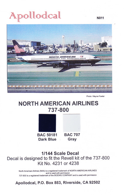 1/144 Scale Decal North American 737-800