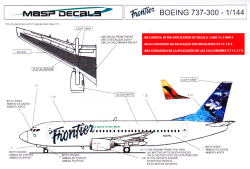 1/144 Scale Decal Frontier 737-300 Orca / Dolphin