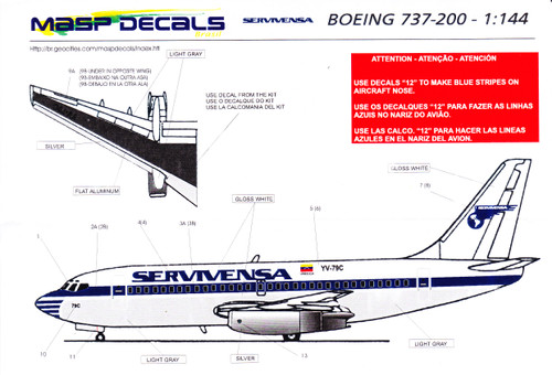 1/144 Scale Decal Servivensa 737-200