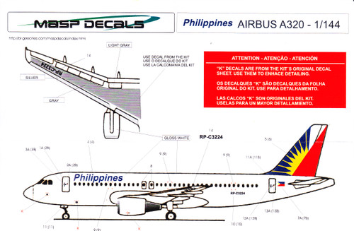 1/144 Scale Decal Philipines A-320