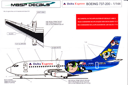 1/144 Scale Decal Delta Express 737-200 Cartoon Network