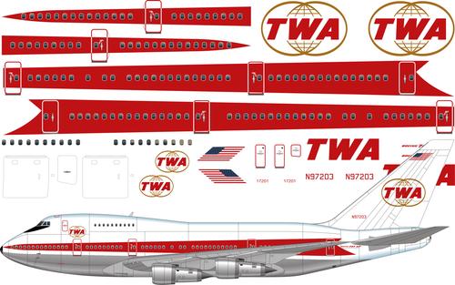1/144 Scale Decal TWA 747SP Twin Globe