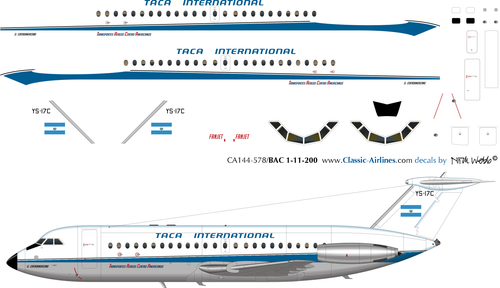 1/144 Scale Decal TACA BAC111-200 Delivery