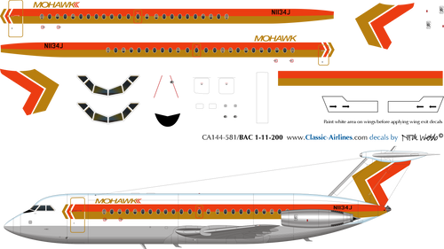 1/144 Scale Decal Mohawk BAC111-200