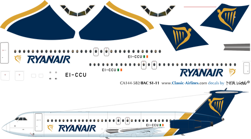 1/144 Scale Decal Ryanair BAC-111 Delivery