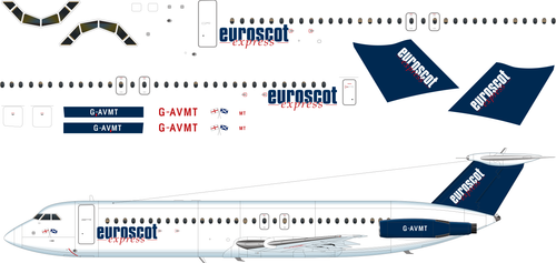 1/144 Scale Decal Euroscot Express BAC-111