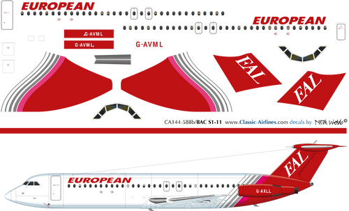 1/144 Scale Decal EAL European BAC-111 Red